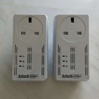 Aztech 600Mbps Homeplug / Powerline Adapters (pair)