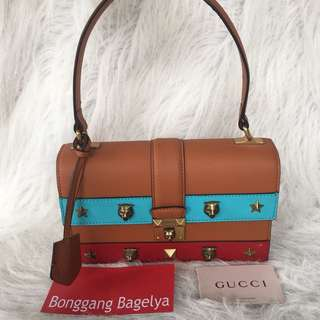 Gucci Cat Lock Leather Top Handle Bag