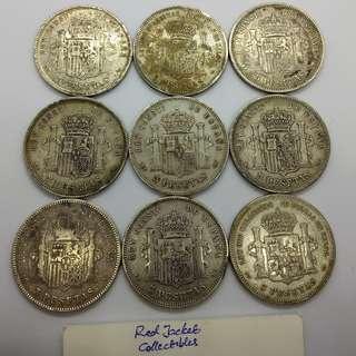 Spanish Silver 5 Peseta coins 1870s+