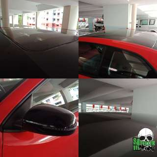 Roof & mirror wrap in gloss black