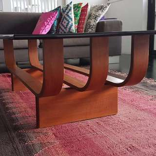 Retro teakwood coffee table with glass top