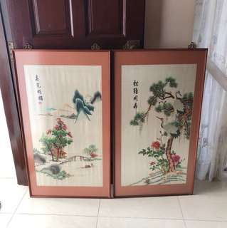 Chinese embroidery embroidered silk picture in frame