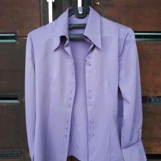 Baju kemeja lengan panjang ungu purple