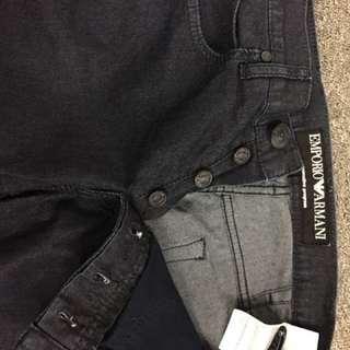 """Emporio Armani jeans dark blue Inseam 29"""", leg opening 8.5"""", thigh 10.5"""", hips 21"""", rise 11"""", waist 33""""]"""