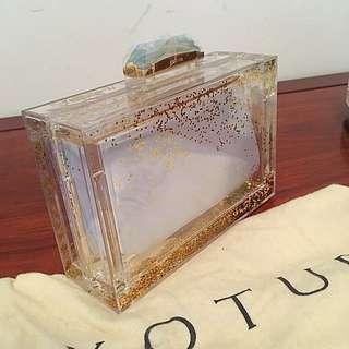 Kotur clear clutch with glitter