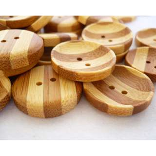 WB10053 - 25mm bamboo pattern wood buttons, wooden buttons (10 pieces)  #craft