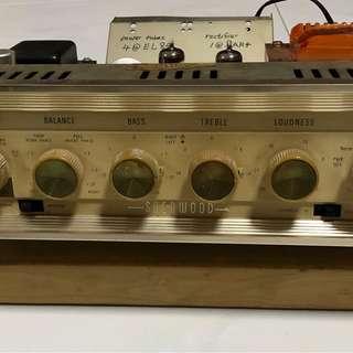 Vintage Sherwood amplifier by designer David Batty