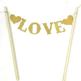 Gold Love Valentine's Day Anniversary Bunting Cake Topper Decoration Cupcake Party