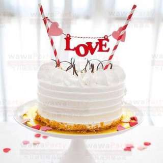 Valentine's Day Love Anniversary Bunting Cake Topper Decoration Cupcake Party