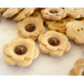 WB10072 - 18mm floral design wood buttons, wooden buttons (10 pieces)  #craft