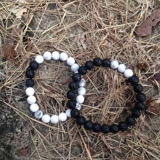 Black Lava & Marble white Bracelet