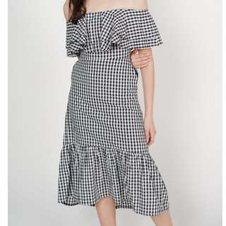 MDS Overlay Ruffled Dress in Gingham
