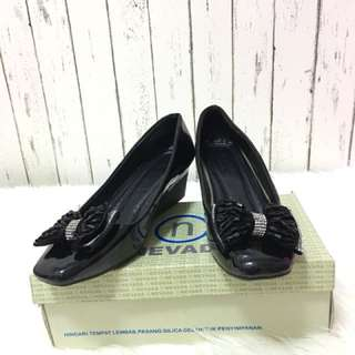High heels shoes party black sepatu pesta hitam party shoes pita gliter size 38 fashion office style