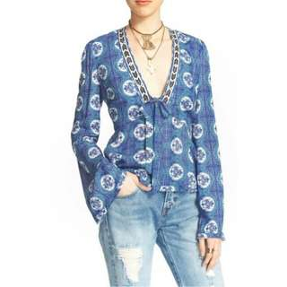 Free People Blue Combo Blouse