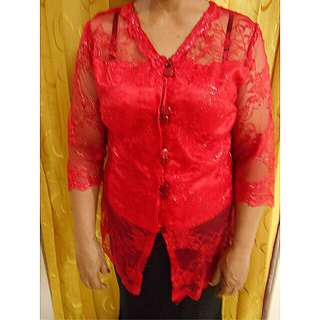 KEBAYA BROKAT WARNA MERAH SIZE FIT TO L