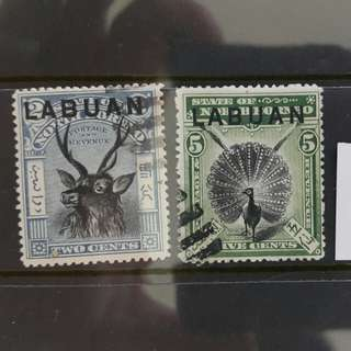 Labuan Stamps Two/Five cents 1894 Vintage