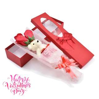 3 Pcs Soap Flower Bouquet with Bear Gift for Valentines