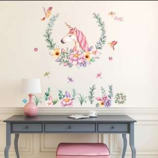 $12🎉New Arrival Cute cartoon wall stickers warm bedroom girl princess children room bedside background decoration unicorn sticker/Home Decor ⏹Size W110*H110cm