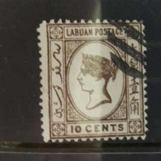 Queen Victoria Labuan 10 cents Malaysia Stamps 1883