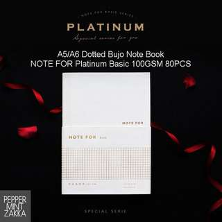 NOTE FOR Platinum Basic A5/A6 Dotted Bujo Note Book (1BOOK) 100GSM 80PCS