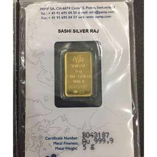 Pamp Suisse Lady Fortuna 999.9 5 grams Gold Bar