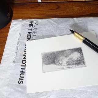版畫藝術明信片:眼睏的小狗