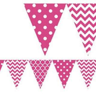 Party Bunting Pink/Red Dotted/striped Flags