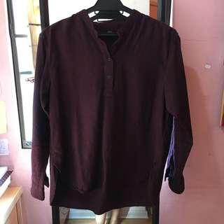 UNIQLO Flannel Mandarin Collar Top Burgundy