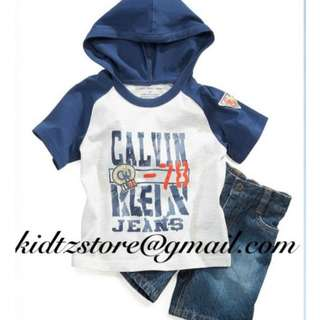 CK Pullover Hoodie & Jeans Shorts Set