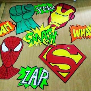 Superhero birthday prop