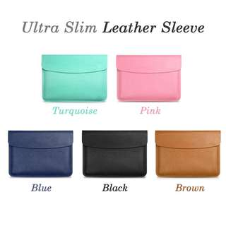 Leather Sleeve - Sizes and Colors Available - Fits Macbook, Surface Pro