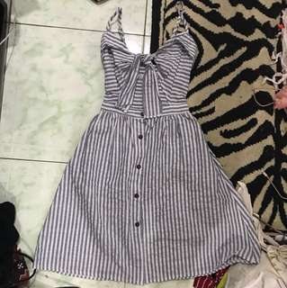 REPRICED!! Front tied stripe 2 way mini dress