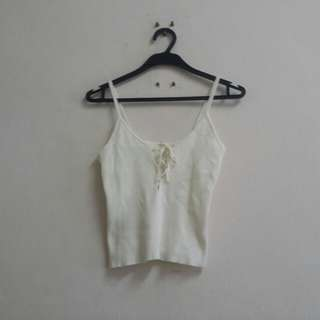White Crop Knitted Top