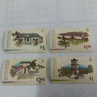 香港郊區傳統建築物郵票4枚