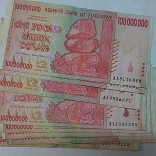 Zimbabwe 100 million and 500 million Banknote year 2008 hyperinflation series