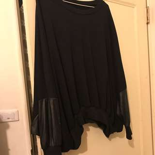 🚚 Oversize黑色飛鼠袖衛衣