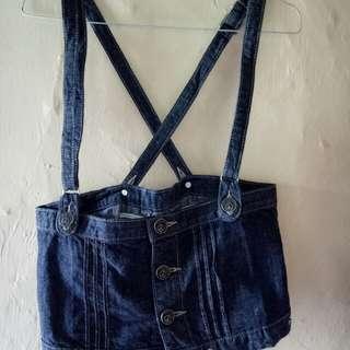 Rompi/overall/rok kodok jeans asli tebal import