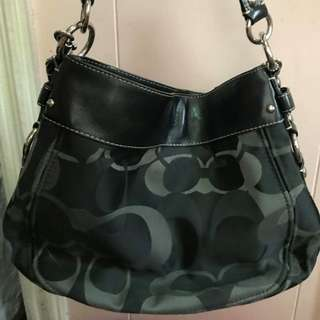 REPRICED: Preloved Black Coach Monogram with Shoulder Straps