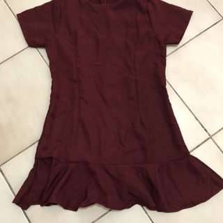 Maroon ruffle dress