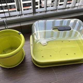 ELHO gardening flower vegetable pot and tray