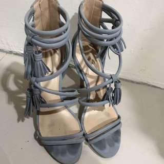 Aldo 霧霾藍流蘇高跟涼鞋