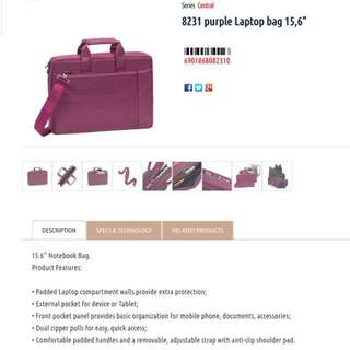 "Purple Rivacase 8231 15.6"" Laptop Bag"
