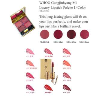 ✨WORLD'S MOST BEAUTIFUL LIP COLOUR! 😍$18.80 ONLY😍 4 COLOR LIP PALETTE✨ANTIAGING 24K GOLD, PEARL AND NOURISHING AMBER MAKEUP LIP PALAETTE✨The History of Whoo Gongjinhyang Mi Luxury Lipstick, Palette