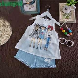 CHAMSGEND Toddler Kids Baby Girls Summer printed chiffon vest Outfit Clothes Print Vest T-Shirt+Short Pants Set