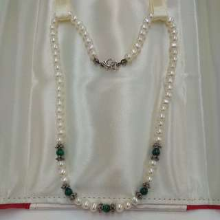 Fresh Water Pearl with Malachite Bead
