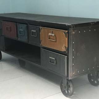 Vintage metal table with drawers and rollers