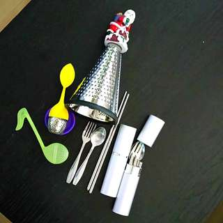 Tea infuser, shredder, travel utensils kit
