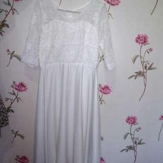 Dress mix brukat white