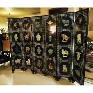 中國三寶之一福州漆器木鑲玉石貝殼屏風