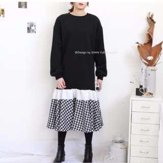 🚚 韓系小清新拼接格紋刷毛衛衣連身裙